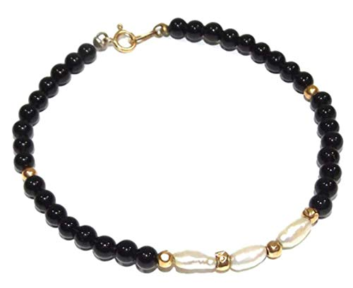 Vintage 14k Gold & Black Bead Estate Bracelet with Freshwater Pearls