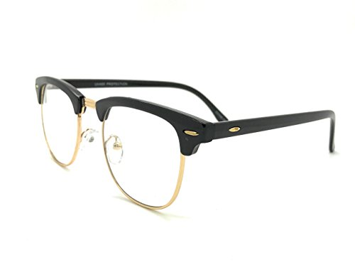 MyUV Vintage Retro Classic Half Frame Sunglass Horn Rimmed Clear Lens Eye Glasses (Black/Gold, - Horn Glasses Rimmed Black