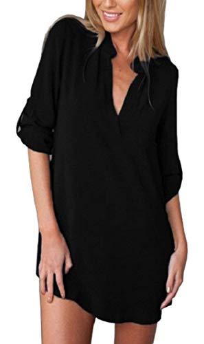 Haut Jeune Avant Manches Longue Confortable Loisir Basic Irrgulier Printemps Manche Mode V Button fashion Femme Schwarz Vetement Poches lgant Longues Shirts Chemise Mode HX Uni Chemise Cou 8qwx0AO1E