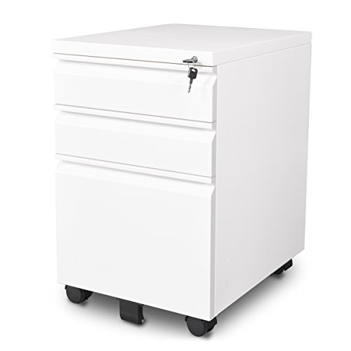 DEVAISE 3-Drawer Mobile File Cabinet with Lock/Letter Size, White - All Steel File Cabinet