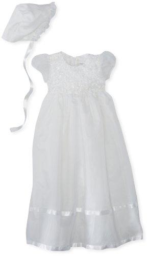 Jayne Copeland Baby-Girls Newborn Christening Organza Soutache Dress, White, 6 Months