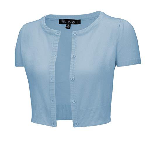 (Cap Sleeve Cropped Crewneck Cardigan Sweater Vintage Inspired Pinup CB0536-SBL-L)