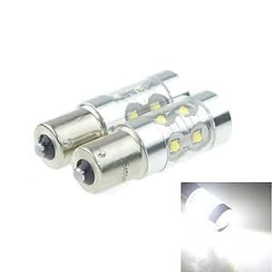 DK 2x 1156 (P21W Ba15s) 50W 10xCREE Cold White 3100LM 6500K for Car Brake Light (AC/DC12V-24)£šDelivery color£©(White)