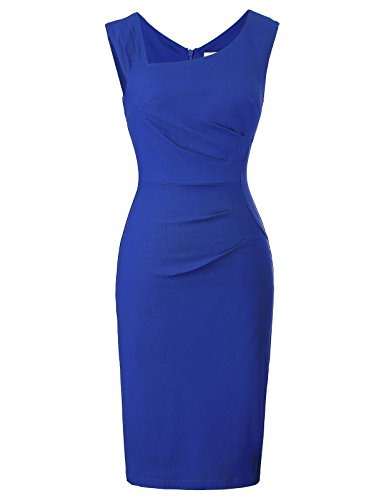 Belle Poque Lady's Sleeveless V-Neck Wear to Work Pencil Dress Size M Royal Blue BP302-4