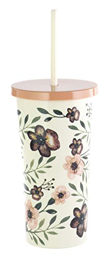 Steel Mill & Co Acrylic Insulated Tumbler with Reusable Silicone Straw, 20 Ounce Travel Cup, Woodland Floral