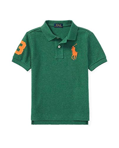 (Polo Ralph Lauren Boy's Big Pony Mesh Polo T-Shirts, Green Heather)
