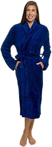 Plush Wrap Kimono Loungewear Robe (Navy Blue, L/XL) ()