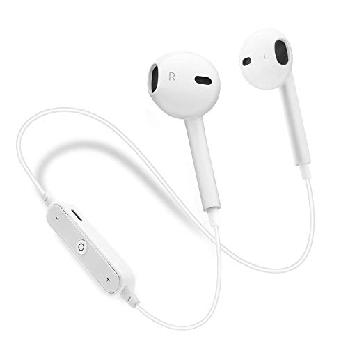 Bluetooth Headphones Wireless Earbuds Noise Cancelling Earphones Mic Microphone Cordless Headphones Sport Running Headset White