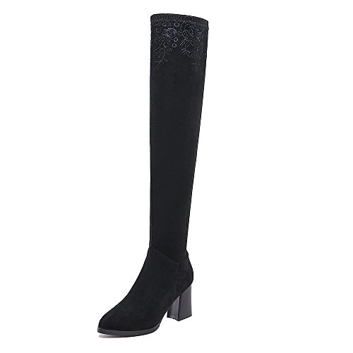 Boots Nine SevenOver mujer negro the Botas knee qw6dxtrw