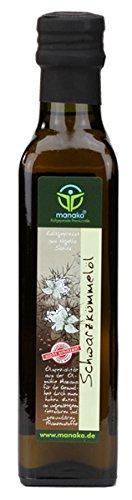 manako ® Schwarzkümmelöl human, kaltgepresst, 100 % rein, 250 ml Glasflasche (1 x 0,25 l)