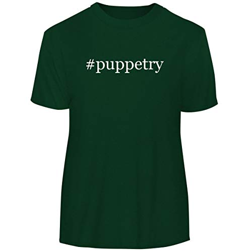 One Legging it Around #Puppetry - Hashtag Men's Funny Soft Adult Tee T-Shirt, Forest, Large ()