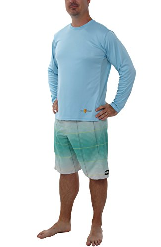 Sun Shield Men's Genesis Sun Protection Performance Fishing Shirt, Cool Long Sleeved Breathable T-Shirt, Light Blue XL