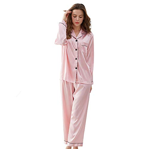 KIMILILY Pajamas Set Satin Long Sleeve Sleepwear Silk Pj Set Two Piece Nightwear Pink Casual Lounging Pant Set