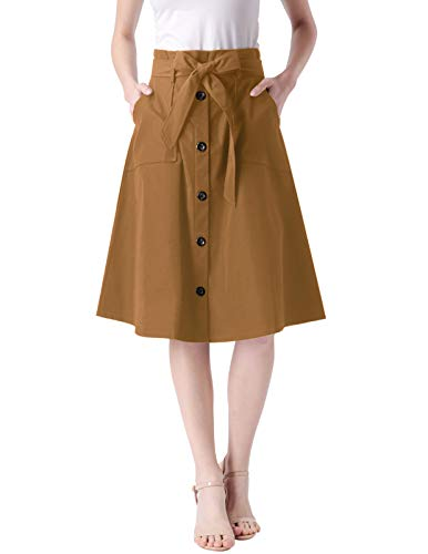 ANGGREK Elegant Fall Street Skirt for Women Stretch Formal Skirt for Church Khak XL Khaki