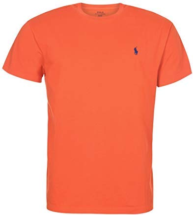 Polo Ralph Lauren Mens Cotton Crewneck Tee (Orange, Small)