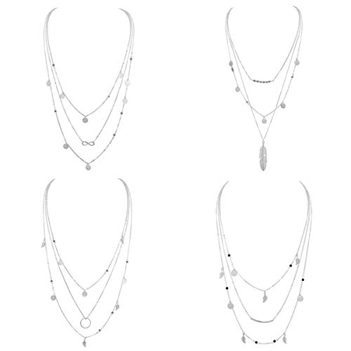 Silver Boho Necklace Pendant for Women Multilayer Chain Beads Leaf Disc Charm Costume Jewelry 4Pcs E600S- (Costume Fashion Jewelry Necklace)