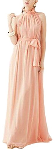 VSVO Women Halter Neck Sleeveless Chiffon Maxi Dresses (One Size, Light - Evening Sheer Gown Halter