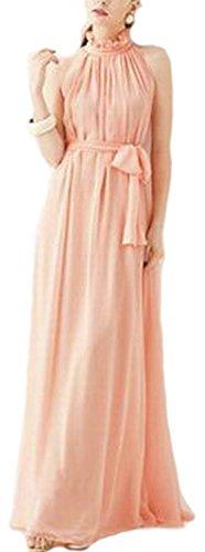 VSVO Women Halter Neck Sleeveless Chiffon Maxi Dresses (One Size, Light Pink)