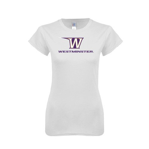 Westminster College Next Level Ladies SoftStyle Junior Fitted White Tee 'W Westminster'