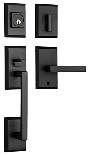 Rockwell Premium Zenia Solid Brass Entry Door Handle Set with Delta Lever in Oil Rubbed Bronze Finish for 5-1/2_ Double Bore