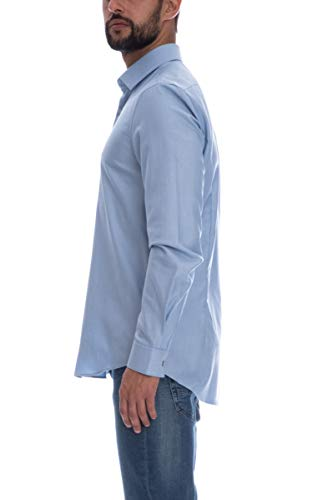 Uomo Scuro Calvin Camicia Manica Celeste Klein Lunga qzYYIBWvw