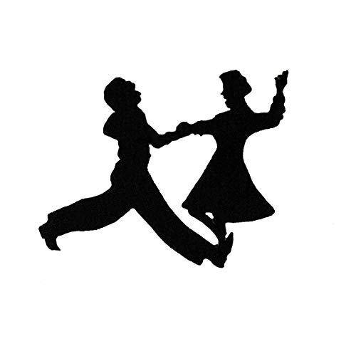 - ID 0153 Dancing Couple Silhouette Patch Shadow 50's Embroidered Iron On Applique