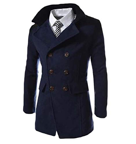 Double Turn Mogogo Outwear Parka Business Breasted Navy Mens Down blue Wool Collar 55BIq