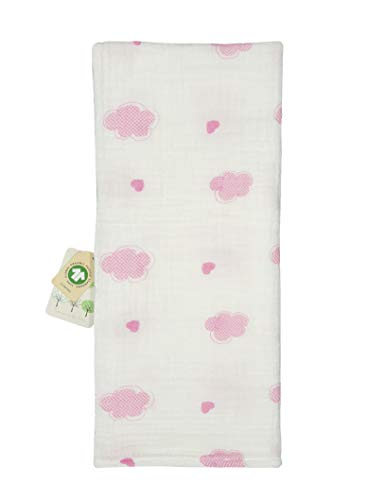 (Baby Girl Organic Cotton Muslin Swaddle Wrap Blanket Pink and Cute Figures 31.5x35.5 inches (Pink Cloud))