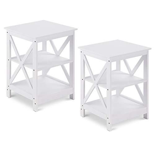 Giantex Nightstand 3-Tier X-Design Storage Organizer Display for Living Room Bedroom HomeFurniture End Table 2, White