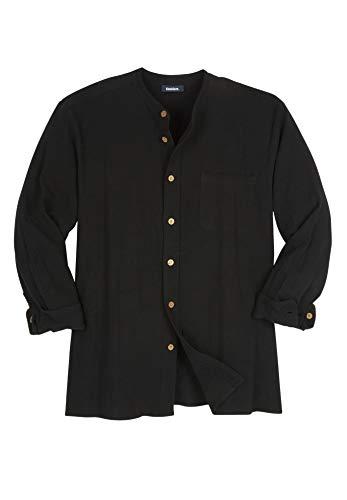 KingSize Men's Big & Tall Gauze Mandarin Collar Button-Down Shirt, Black