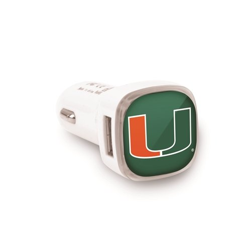 Miami Hurricanes Auto/Car USB Charger with Dual Ports (Phone Miami Hurricanes Charger)