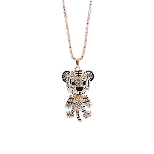 (Noopvan Deals Little Tiger Pendant Necklace Women Charm Colorful Cute Tiger Rhinestone Necklace Jewelry (Gold))