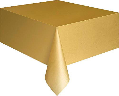 (Gold Plastic Table Cover 54'' x 108'' Rectangle)