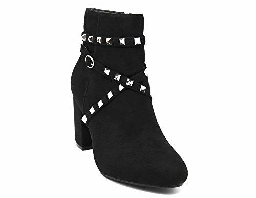 Daim SHF100 et Effet Brides avec Noir Clous Talon Argenté Pyramide Bottines Boots Métal Carré wxtEqrw0g