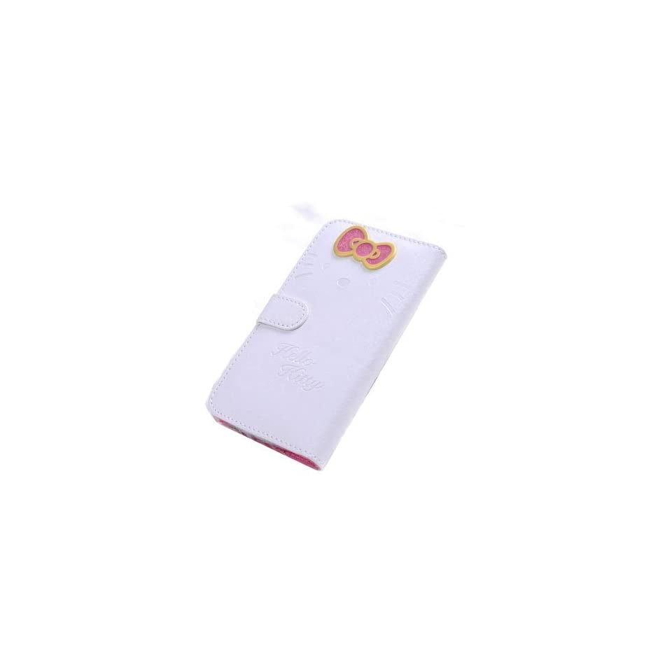 LliVEER White Samsung S4 i9500 Beuatiful Shell Skin Case 3D Cute Hello Kitty & Bow knot Style Flip Wallet Leather Cover for Samsung Galaxy S4 IV i9500