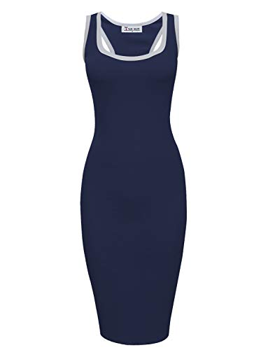 (TAM WARE Women Casual Racerback Bodycon Tank Midi Dress TWCWD156-NAVY-US M)