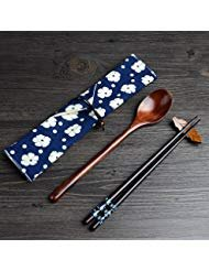 Portable Lunch Tableware Set Wooden Spoon and Chopsticks Cutlery Set with Cloth Carry Bag (BLUE) ()