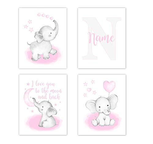 Watercolor Pink Elephant With Balloon Baby Girl Nursery Art Personalized Wall Decor 3 UNFRAMED PRINTS
