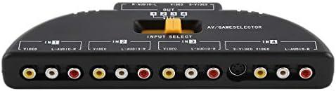 DIYオーディオおよびビデオケーブル用オーディオアダプターオーディオケーブル、小型、軽量、持ち運びが AV4-SVIDEO 4 1マルチソースオーディオビデオAV信号スイッチャー(ダークブルー)、小型、軽量で持ち運びが簡単に