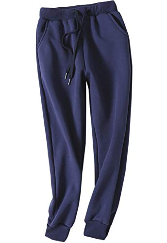 - Flygo Women's Winter Warm Elastic Waist Sherpa Lined Joggers Pants Sweatpants (X-Large, Blue)
