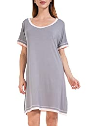 7f1c6d7ca343 Sleep Shirts for Women Soft Nightgowns Short Sleeve V Neck Sleepwear XS-XXL