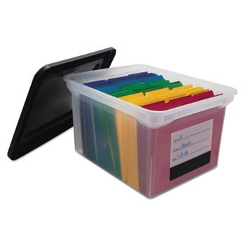File Tote Storage Box with Snap-on Lid Closure, Letter/Legal, Clear/Black ADVANTUS CORPORATION