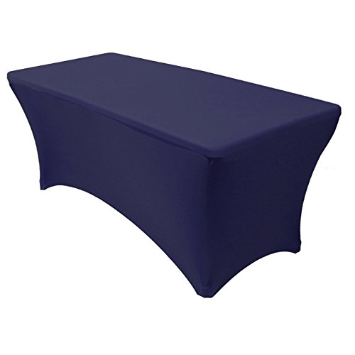 Rectangular Fitted Stretch Spandex Table Cover, Navy Blue, 6' L (Rectangular Cover)