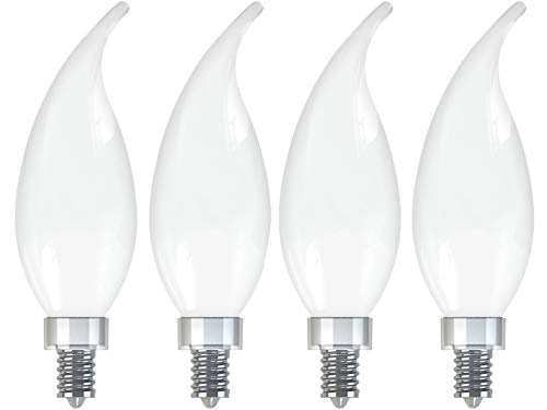 GE Lighting 36986 Frosted Finish Light Bulb Relax HD Dimmable LED Decorative 5.5 (60-Watt Replacement), 500-Lumen Candelabra Base Bent Tip, 4-Pack, Soft White, 4 Piece