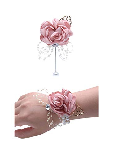 (Flonding Rose Wedding Wrist Corsage and Boutonniere Set Party Prom Hand Ribbon Flower Suit Decor (Champagne Pink))