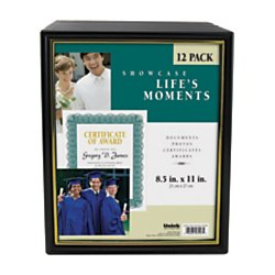 Uniek Corporate Document Frames, 8 1/2in. x 11in, Black/Gold, Pack of 12 by DesignOvation