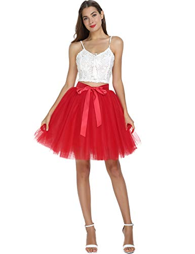 Women's High Waist Princess Tulle Skirt Adult Dance Petticoat A-line Wedding Party Tutu(Red),One -