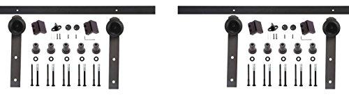 EWEI'S Homewares® 13FT Antique Black Steel Double Sliding Barn Wood Door Hardware Kit Closet Set