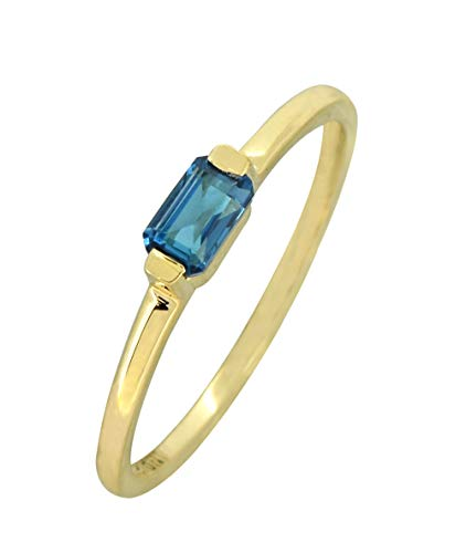 YoTreasure 0.42 Ct. London Blue Topaz Solid 10K Yellow Gold Gemstone Ring