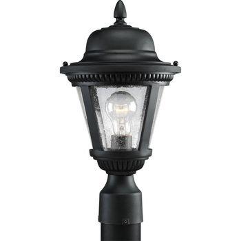 Post Lighting Progress Lights - Progress Lighting P5445-31 1-Light Cast Post Lantern with Clear Seeded Glass, Textured Black